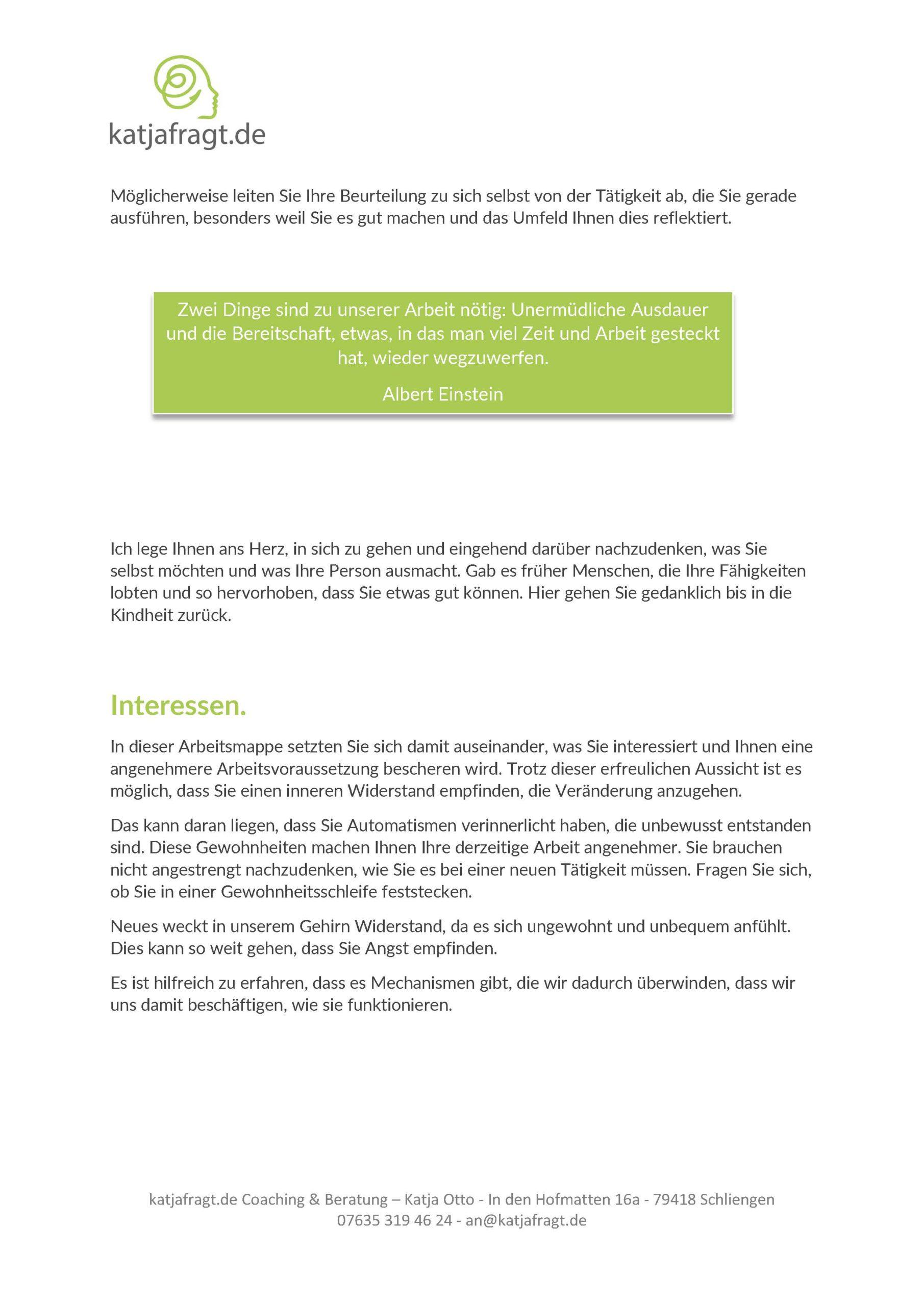Seiten aus RIASEC Modell Arbeitsmappe